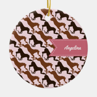 Brown Horses on Pink Patterned Ceramic Ornament