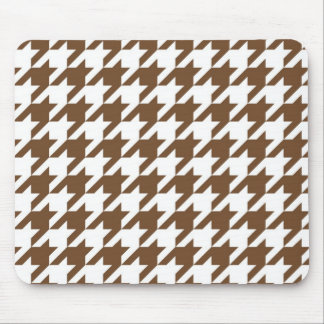 Brown Houndstooth Mouse Pad