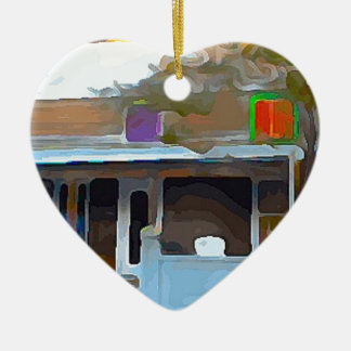 Brown House in Key West Ceramic Heart Ornament
