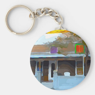 Brown House in Key West Keychain