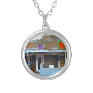 Brown House in Key West Silver Plated Necklace