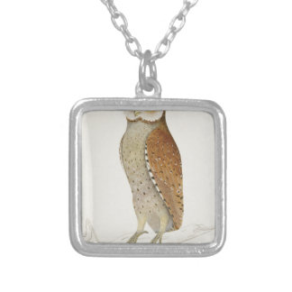 Brown Illustrated Owl on Branch Silver Plated Necklace