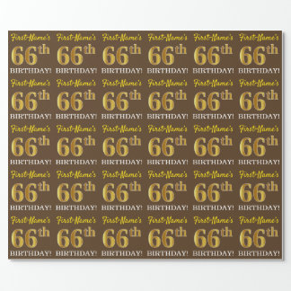 "Brown, Imitation Gold Look ""66th BIRTHDAY"" Wrapping Paper"