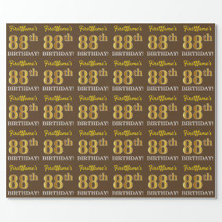 """Brown, Imitation Gold Look """"88th BIRTHDAY"""" Wrapping Paper"""