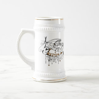 Brown Inspire In Lines and Dangles Beer Stein