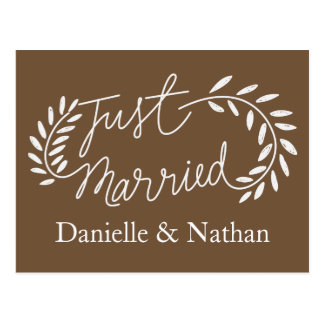 Brown Just Married White Laurel Leaves Wedding Postcard