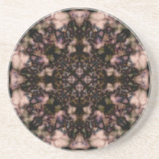 Brown kaleidoscope pattern beverage coaster