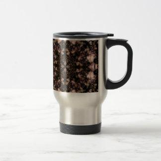 Brown kaleidoscope pattern travel mug