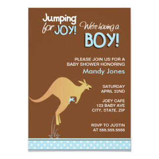 Brown Kangaroo Jumping for Joy Boy baby shower Card