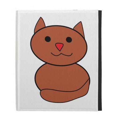 Brown Kawaii Cat iPad Folio Cover