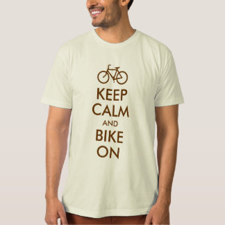 Brown Keep Calm and Bike On T-Shirt