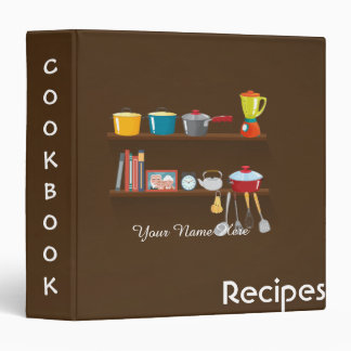Brown Kitchen utensils recipe binder book