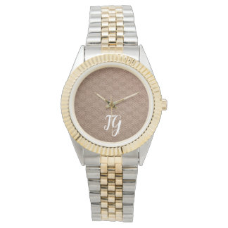 Brown Knit Autumn (Personalize Your Initials) Watch