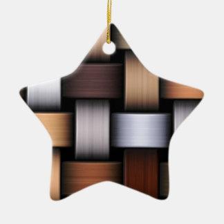 Brown knit texture ceramic ornament