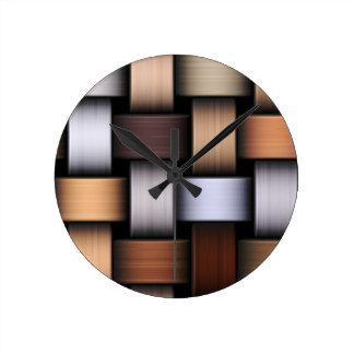 Brown knit texture round clock