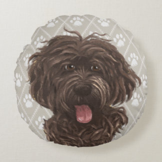 Brown Labradoodle Dog Paintings / Labradoodle Love Round Pillow