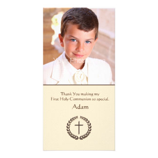 Brown Laurel with Cross, Religious Photo Card