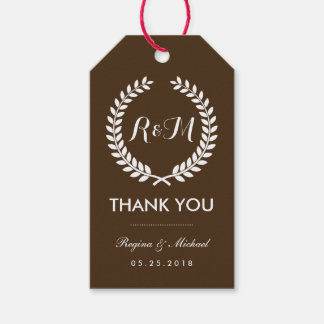 Brown Laurel Wreath Monogram Wedding Gift Tag