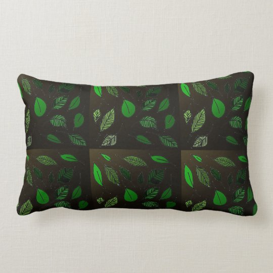 Brown Leaf Print Lumbar Pillow