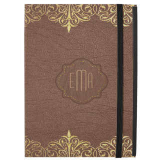 "Brown leather And Gold Lace Border iPad Pro 12.9"" Case"