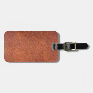 Brown leather bag tag