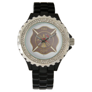 Brown leather cross firefighting symbol watch