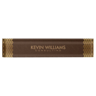 Brown Leather Gold Border Frame Desk Name Plate