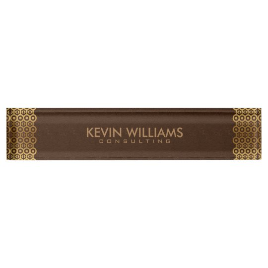 Brown Leather Gold Border Frame Name Plate