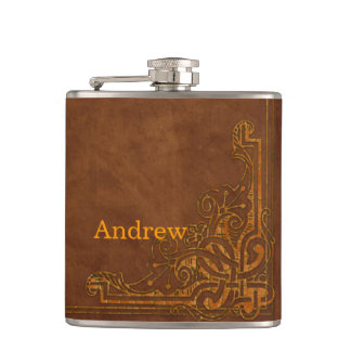Brown Leather-like Graphic Embossed Monogram Flask