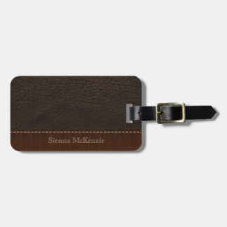 Brown Leather Look Luggage Tag