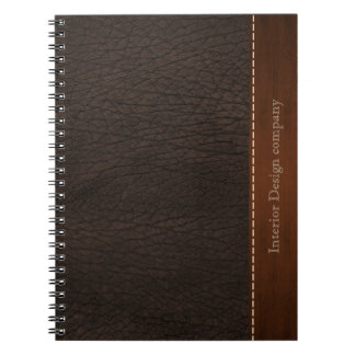Brown leather look spiral notebook
