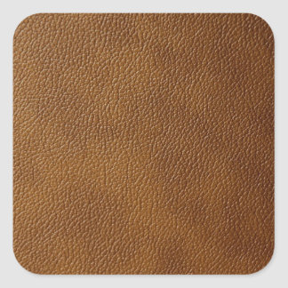 Brown Leather Look Square Sticker