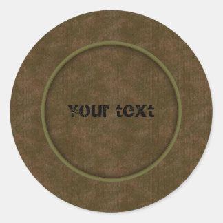 Brown Leather Round Sticker