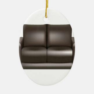 Brown leather sofa design ceramic ornament
