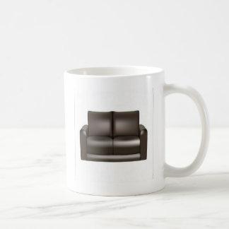 Brown leather sofa design coffee mug