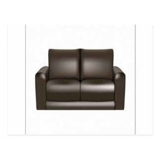 Brown leather sofa design postcard