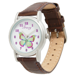 Brown Leather Strap Butterfies Watch