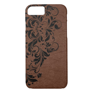 Brown Leather Texture & Black Lace iPhone 8/7 Case