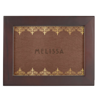 Brown Leather Texture God Lace Frame Keepsake Box