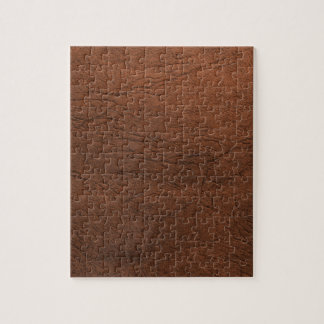 Brown Leather Texture Monogram Jigsaw Puzzle