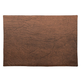 Brown Leather Texture Monogram Placemat