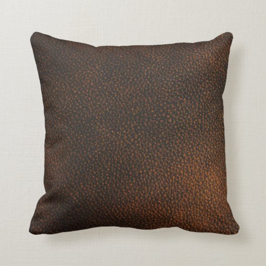 Brown Leather Texture Throw Pillow
