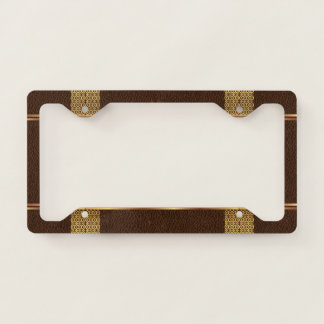 Brown leather texture with gold accents license plate frame