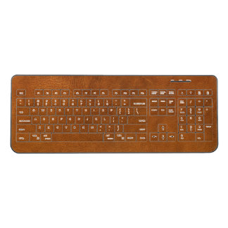 Brown Leather Wireless Keyboard