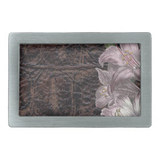 Brown Leather With Pink Flowers Floral Belt Buckles