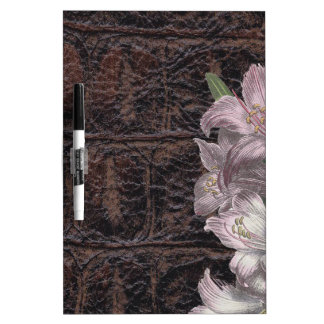 Brown Leather With Pink Flowers Floral Dry Erase Boards