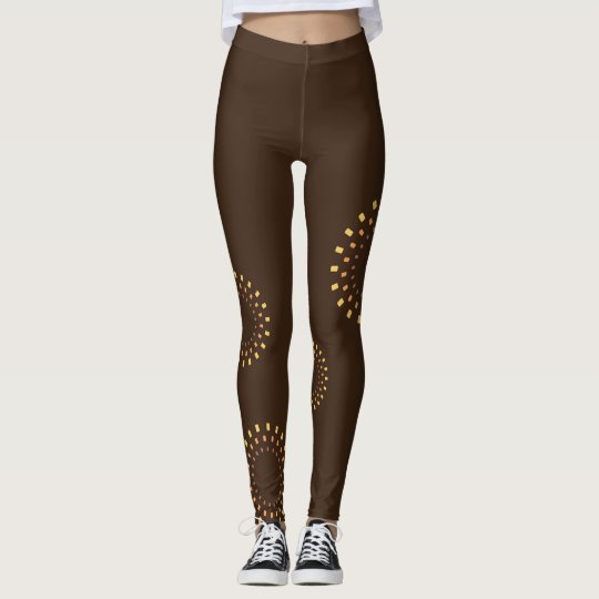 Brown leggings with abstract flowers