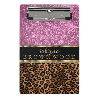 Brown Leopard Skin Pattern and Pink Glitter Mini Clipboard