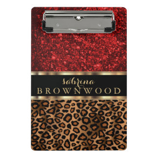 Brown Leopard Skin Pattern and Red Glitter