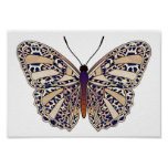 Brown Leopard Spots - Butterfly Poster